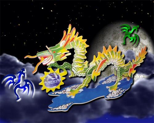 CHIŃSKI SMOK -KOLOROWE PUZZLE PRZESTRZENNE 3D