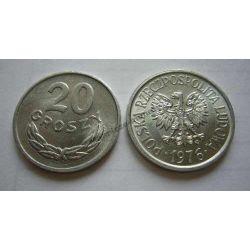 20 gr groszy 1976 duża 6 mennicze mennicza ODMIANA Monety groszowe
