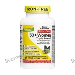 Super Nutrition - Simply One 50+ Women High Energy One-Per-Day Multi-Vitamin Iron Free - 90 Vegetarian Tablets