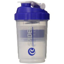 Spider Bottle - SpiderMix Professional Container Shaker - Transparent & Blue - 500ml (plus 2 X 120ml Pillenfach)