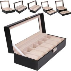 Jago URKS04 Uhrenkasten ca. 30,5 x 12 x 7,5 cm (für bis zu 6 Uhren) Biżuteria i Zegarki