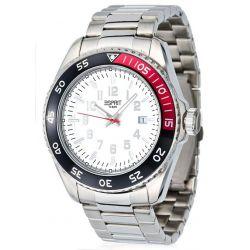 Esprit Herren-Armbanduhr XL Varic Silver White Analog Quarz Edelstahl ES103631008 Biżuteria i Zegarki