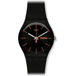 Swatch Unisex-Armbanduhr Dark Rebel Analog Quarz Plastik SUOB704 Biżuteria i Zegarki
