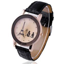 Eiffelturm Liebespaar Damenuhr Damen Herren Analog Uhr Quartz Armbanduhr Schwarz Biżuteria i Zegarki