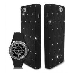Unisex Uhr Bling Strasssteine Kristall Silikon Mit Schutzhülle Für Apple IPhone 5 5S - Schwarz Biżuteria i Zegarki