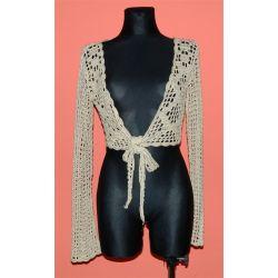 ażurowe bolerko, krótki sweterek (M/L)