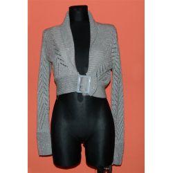 bolerko, krótki sweterek, srebrna nitka MK  (XL)