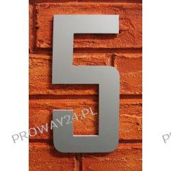 Cyfra 5 Numer na Dom, na elewację, Srebrna Alucobond - 18cm