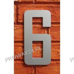 Cyfra 6 Numer na Dom, na elewację, Srebrna Alucobond - 18cm