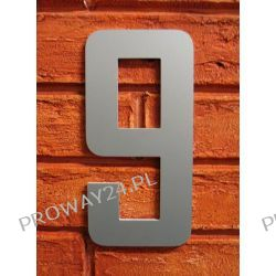 Cyfra 9 Numer na Dom, na elewację, Srebrna Alucobond - 18cm