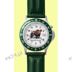 Zegarek z motywem dzika, pasek skórzany  Pistolety
