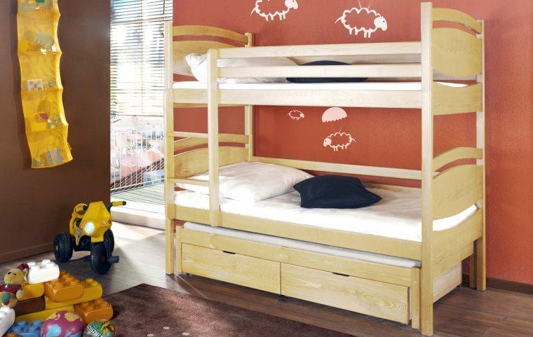 łóżko Piętrowe 3 Osobowe Z Barierkami 2 Szuflady łóżka Piętrowe