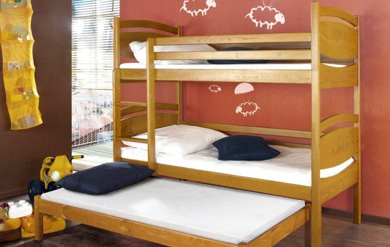 łóżko Piętrowe 3 Osobowe Z Barierkami Ochronnymi łóżka Piętrowe