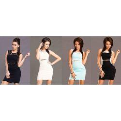 Sukienki koktajlowe szyfonowe z koronką - L