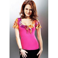 Seksowna bluzka Enny*zwiewne rękawki*amarant*r. 48