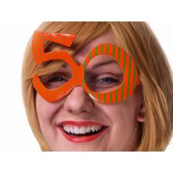 Okulary 50, pomarańcz, 1szt.  URODZINY