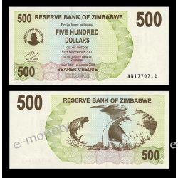 Zimbabwe 500 DOLLARS 2007