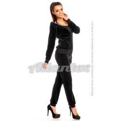 Dresy welurowe damskie beFITNESS komplet: bluza + spodnie w ściągacz, kolor: czarny, rozmiary od S do L