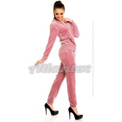 Dresy welurowe damskie |beFitness| komplet: bluza + spodnie, kolor: brudny róż, rozmiary od S do L