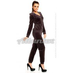 Dresy welurowe damskie |beFitness| komplet: bluza + spodnie, kolor: ciemny brąz, rozmiary od S do L