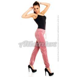 Spodnie dresowe welurowe damskie nogawki w ściągacz kolor: brudny róż