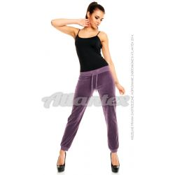 Spodnie dresowe welurowe damskie nogawki w ściągacz kolor: jasna śliwka