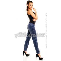 Spodnie dresowe welurowe damskie nogawki w ściągacz kolor: indygo