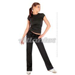 Spodnie dresowe damskie proste nogawki kolor: czarny