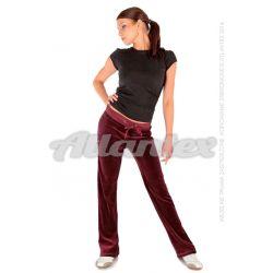 Spodnie dresowe welurowe damskie proste nogawki kolor: bordo
