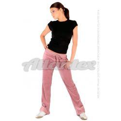Spodnie dresowe welurowe damskie proste nogawki kolor: brudny róż