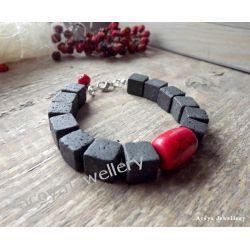 Czarno czerwona bransoletka z lawą Biżuteria i Zegarki