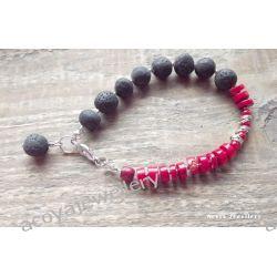 Interesująca bransoletka z lawą i koralem Biżuteria i Zegarki