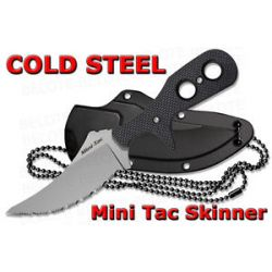 Cold Steel Mini Tac Skinner Serrated Fixed Blade w Secure EX Neck Sheath 49HSFS