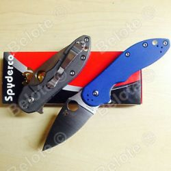 Spyderco Numbered Domino Titanium w Blue G 10 cts 204P Steel C172GBLTIP New