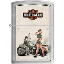 Zippo HD Harley Davidson 1940's WWII US Army Pinup Satin Chrome Lighter New