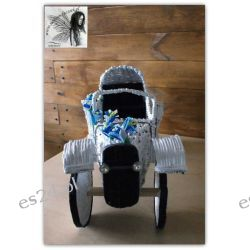 Samochód dla nowożeńców,  wiklina papierowa,  ręcznie wykonany