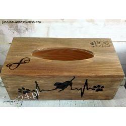 Drewniany, ręcznie wypalany chustecznik dla miłośnika psów