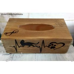Drewniany, ręcznie wypalany chustecznik dla miłośnika kotów