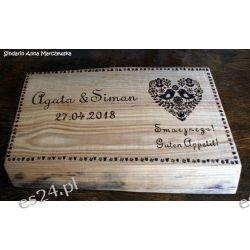 Naturalna, drewniana, ręcznie wypalana, rustykalna deska do krojenia