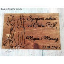Drewniana pocztówka z okazji ślubu