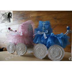 Wózek na chrzest, narodziny, wiklina papierowa, ręcznie robiony