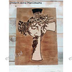 Ręcznie wypalany obraz z wizerunkiem Jezusa Chrystusa i krzyżem