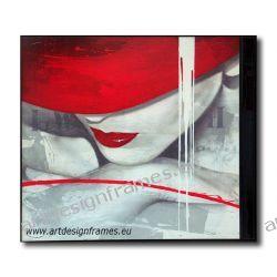 AP 297, nowoczesne obrazy do pokoju, portret kobiety, dama w czerwonym kapeluszu,