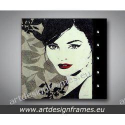 A 6391, nowoczesne obrazy do salonu, elegancki portret kobiety, Antyki i Sztuka