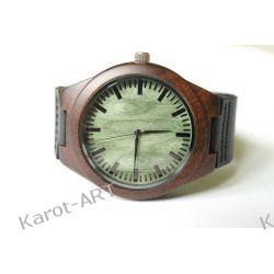 Drewniany zegarek z hebanu ZIELONY Biżuteria i Zegarki