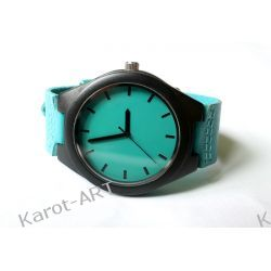 HIPSTERSKI Drewniany zegarek z hebanu NIEBIESKI Biżuteria i Zegarki