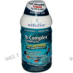 Wellesse Premium Liquid Supplements, B-Complex Complete, Blueberry Pomegranate Flavor, 16 fl oz (480 ml)