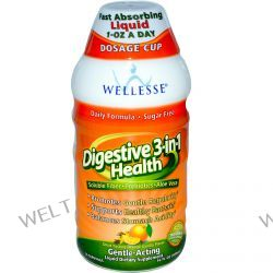 Wellesse Premium Liquid Supplements, Digestive 3-in-1 Health, Orange-Vanilla Flavor, 16 fl oz (480 ml)
