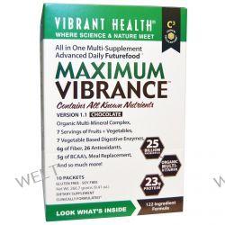 Vibrant Health, Maximum Vibrance, Version 1.1, Chocolate, 10 Packets, 0.94 oz (26.67 g) Each