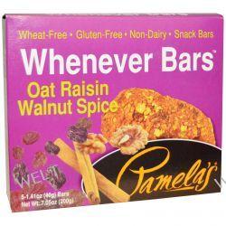 Pamela's Products, Whenever Bars, Oat Raisin Walnut Spice, 5 Bars, 1.41 oz (40 g) Each